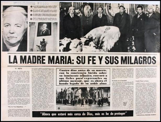 La prensa se hizo eco de las repercusiones que generó la muerte de la Madre María en 1928 por la gran cantidad de seguidores que se acercaron a despedirla.