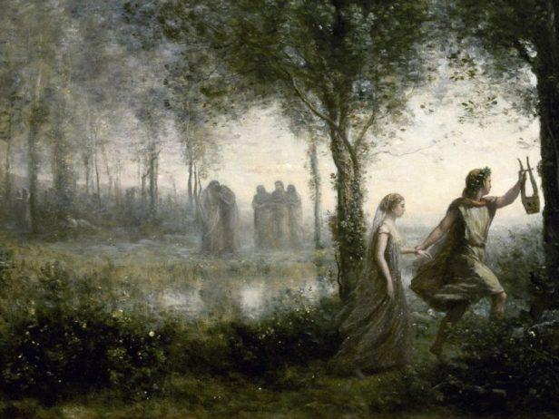 """""""Orfeo conduciendo a Eurídice fuera del infierno"""" (1861) de Camille Corot"""
